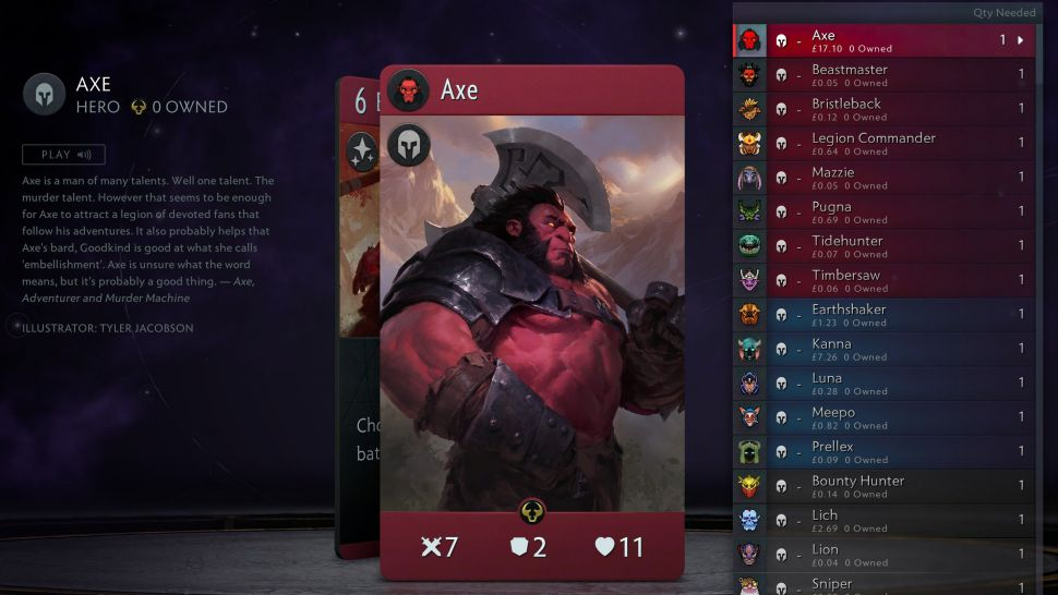 A single Artifact card, Axe, costs almost as much as the game itself   Dot  Esports