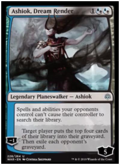 Ashiok, Dream Render Planeswalker card in MTG War of the Spark expansion