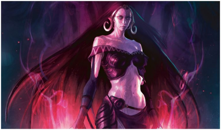Liliana wearing artifact Chain Veil in MTG War of the Spark