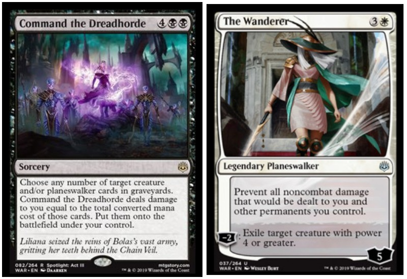 Liliana Command the Dreadhorde and The Wanderer planeswalker in MTG War of the Spark make a deadly and broken combo
