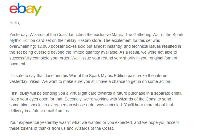 eBay apology letter War of the Spark Mythic Edition