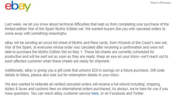 Ebay compensation letter War of the Spark Mythic Edition