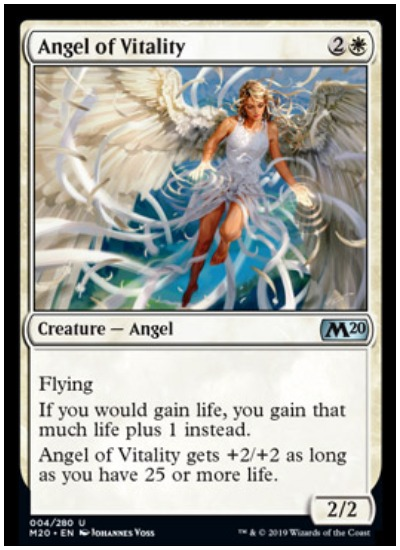 The spoiler season for Magic: The Gathering Core Set 2020 has plenty of female power with the latest addition of Angel of Vitality  Set to release on July 12, Core Set 2020 is the fourth set/expansion to release in 2019 from Magic: The Gathering. Containing a total of 280 cards the storyline focus for the set is Chandra, and a strong female angel cast, beginning with Angel of Vitality.   Angel of Vitality  With a casting cost of three mana (one white), Angel of Vitality is much more than two/two flyer. She has two static abilities, both focusing on the mechanic of lifegain.   The first ability provides the player with one additional life for every life gained while the second gives plus two/plus two if the player has more than 25 total life points. Working in conjunction with War of the Spark cards like Ajani's Pridemate Gideons Blackblade, Angel of Vitality will breath new life back into the lifegain mechanic in Magic: The Gathering.   Angel decks will also receive a nice boost from Angel of Vitality, perhaps making them a legitimate threat in the MTG Standard metagame. With Mono-Red Aggro and Esper Midrange/Control archetypes dominating Standard, fresh decks that can utilize the power of Angel of Vitality are needed.   Pre-release weekend for Core Set 2020 is set to take place July 5-6 while the official launch date is July 12. Digital players will get an early shot at M20 as the set release via MTG Arena and Magic Online on July 2.