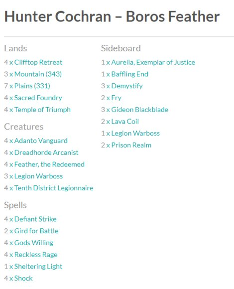 Boros Feather MTG Grand Prix top eight decks