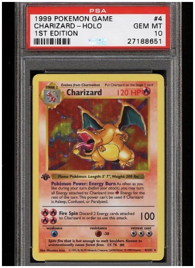 1999 Pokemon Charizard HOLO first edition card sold at auction