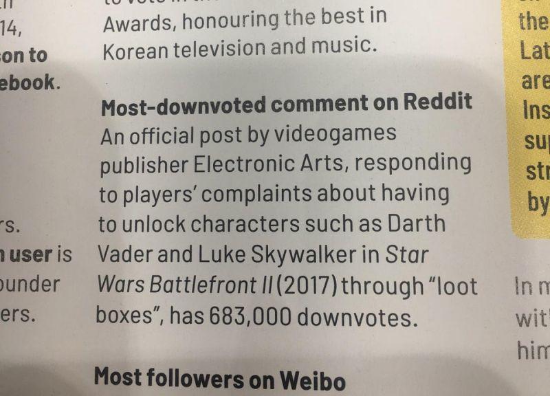 Battlefront II EA most downvoted comment on Reddit