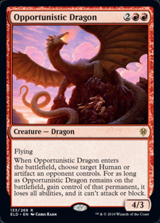 Opportunistic Dragon Spoiler Magic Throne of Eldraine