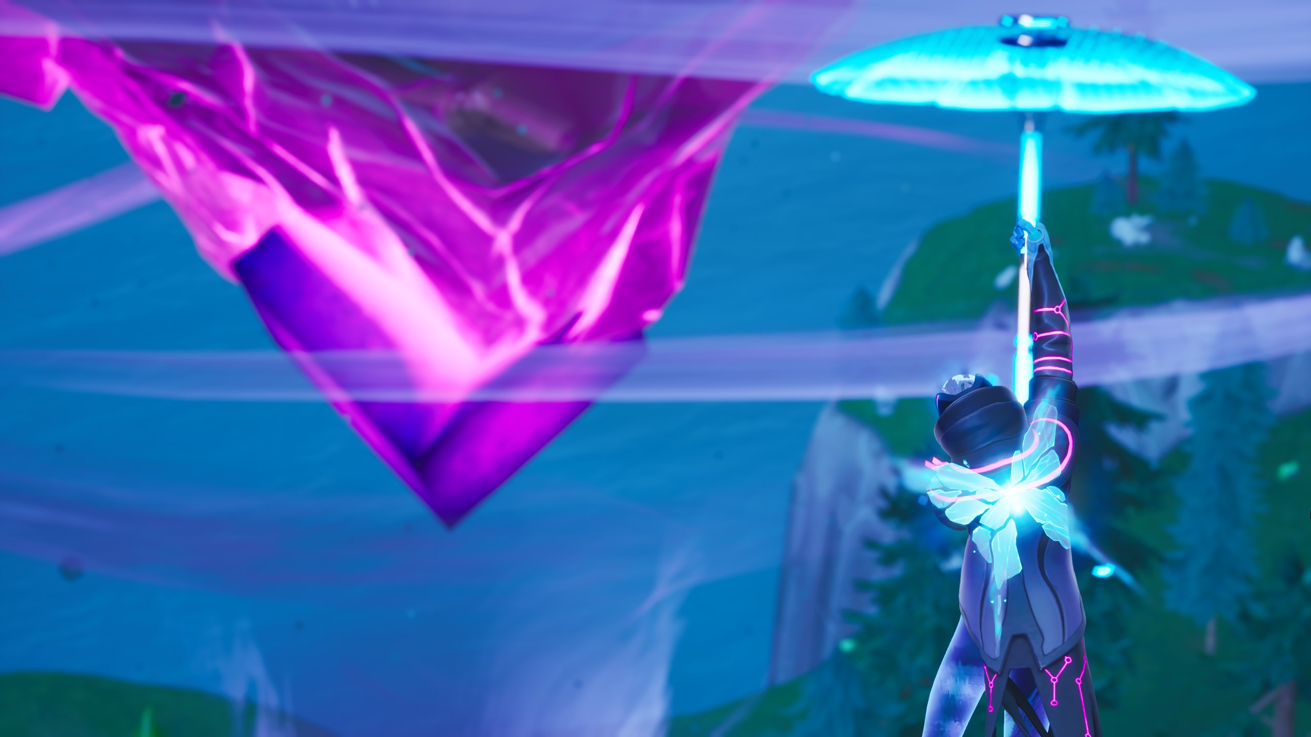 Fortnite Client where to touch a giant glowing cube, enter a rift above loot