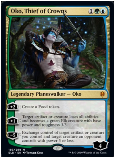 "A new set is coming to Magic: The Gathering in the Standard format, full of folklore spells and fairy tale creatures that are worthy return on an initial investment.   The Throne of Eldraine (ELD) set releases on Oct. 4, and with it comes Standard rotation. Containing 269 cards, the set features new styled cards and spells with the potential to cause a major metagame shift. Also included in ELD are Adventure creatures, a Food mechanic, and lots of Knights.   Because Throne of Eldraine is releasing at the same time as fall rotation in Standard, many of its cards have the potential to be worth more. In addition, the set includes special art and borderless cards that will also have an increased value on the open market. For now, however, here are the top 10 ELD cards that are valued at $10 and up.   Oko, Thief of Crowns (Mythic Rare)  Leading the pack in the number one spot of ELD cards worth money is Oko, Thief of Crowns. With only three planeswalkers in the set (not including planeswalker decks), it's not a surprise to find Oko valued at around $24 right now. Whether Oko Thief of Crowns will remain this high is unknown to the little value (other than creating Food tokens) he has as a planeswalker.   Questing Beast (Mythic Rare)   Questing Beast is one of the best Standard cards in the ELD set. Likely to overtake Oko at some point, it's valued at around $20. Able to fit into a variety of archetypes, Questing Beast should hold its value post-release.   Brazen Borrower (Mythic Rare)   Flash decks are hot in Standard and Brazen Borrower is a solid Adventure three-drop, or two-drop should a player choose to cast Petty Theft. Valued at around $19, the faerie rogue has dropped slightly in price as the release of ELD gets closer. Brazen Borrower might drop some more but should remain in the top ten.   The Royal Scions (Mythic Rare)   On the battlefield, it's unknown if The Royal Scions will have an impact on Standard. As a Mythic Rare planeswalker, however, the twins are valued at around $16 for now. The ELD card seems like a bust at first glance but could find its worth once the set is fully released.   Garruk, Cursed Huntsman (Mythic Rare)   Garruk, Cursed Huntsman is likely the best planeswalker in the ELD set. With the MTG community waiting for Garruk to return to Standard for some time now, his valued price at around $15 should remain consistent.   Once Upon a Time (Rare)  Considered the best card to come out of the Throne of Eldraine set, Once Upon a Time will see play in a variety of MTG formats. Because of this (and being a Rare) it's valued at around $15 and could climb higher post-release.   Murderous Rider (Rare)  A Knight tribal theme is a definite possibility, especially in Mardu, and Murderous Rider is an Adventure card that will find a spot in several Knight decks. As a three-drop that is removal (including planeswalkers) and/or a creature with lifelink, Murderous Rider is priced appropriately at around $12.  The Great Henge (Mythic Rare)   In a ""go-wide"" or Green stompy deck with plenty of mana dorks, The Great Henge will likely see a decent amount of play in Standard. Able to cantrip and add counters, expect the Great Henge to grow past its value of around $12. Plus, it can also tap for an additional two mana while providing lifegain as well.   Robber of the Rich (Mythic Rare)   Robber of the Rich has a decent amount of potential in Standard. It's valued at around $12 and should remain above $10 post-release. Despite its minor restrictions, Robber of the Rich is a versatile card. It can steal an opponent's card off the top of their library, and it has Reach and Haste as a two-drop 2/2 creature.   Fabled Passage (Rare)  As the new Evolving Wilds in Standard, Fabled Passage has value due to the reduced number of dual lands and mana dorks (Llanowar Elves). Not only will it get played in Standard but other MTG formats, like Commander. Fabled Passage is valued at about $10 but could climb higher in the coming weeks."