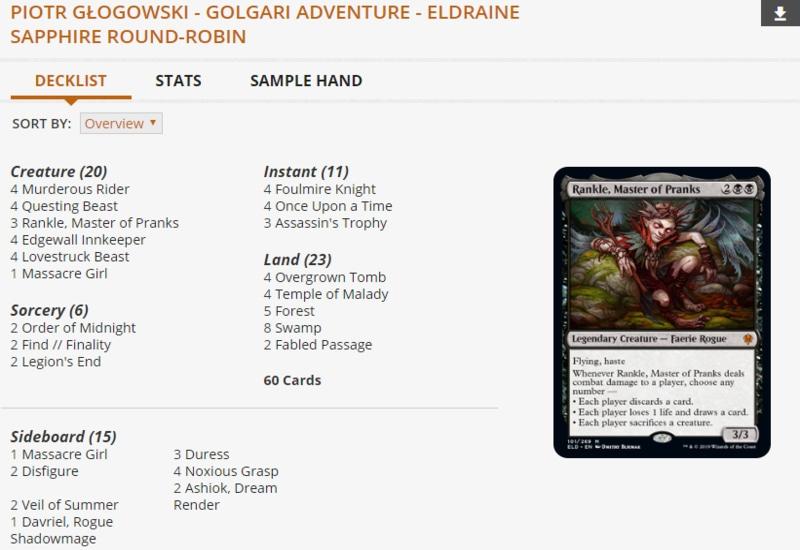 MPL Golgari Adventure Sapphire Division deck