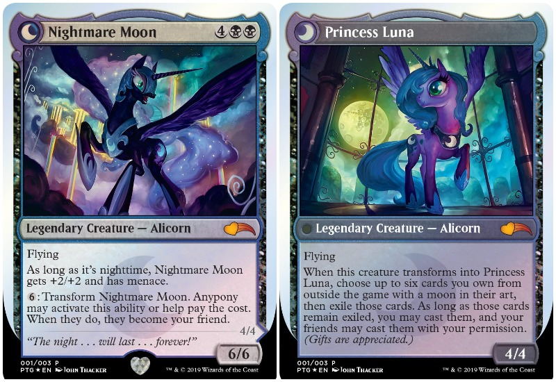 MTG My Little Pony Nightmare Moon and Princess Luna cards