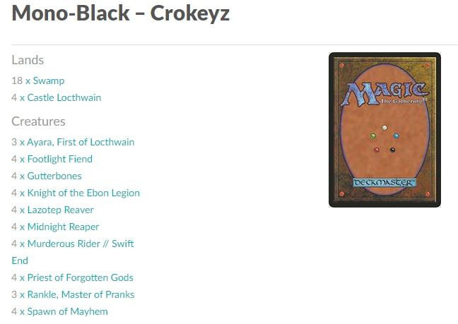 Mono-Black Aggro MTGA Crokeyz ELD deck