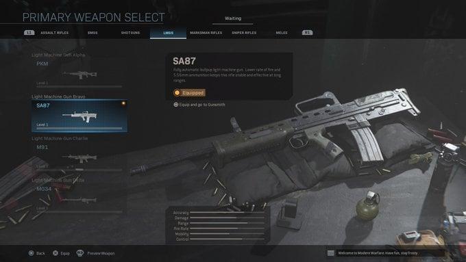 Call of Duty: Modern Warfare SA87 Weapon