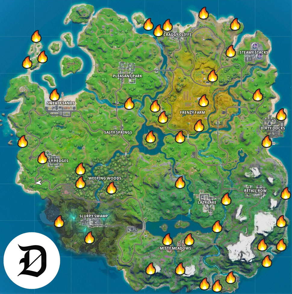 Campfire Map In Fortnite Season 10 Where To Find All Campfire Locations For Fortnite S Winterfest Dot Esports