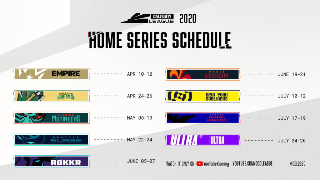 Here S The Schedule For The 2020 Call Of Duty League Season Dot Esports