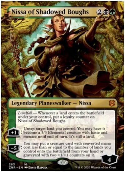 ZNR Nissa of Shadowed Boughs Extended Art MTG