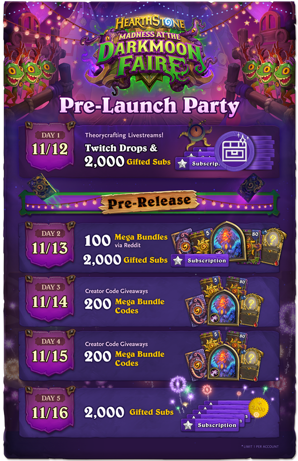 Everything You Need To Know About Hearthstone S Madness At The Darkmoon Faire Pre Launch Party Mylocalesportsbar Join us for madness at the darkmoon faire! the darkmoon faire pre launch party