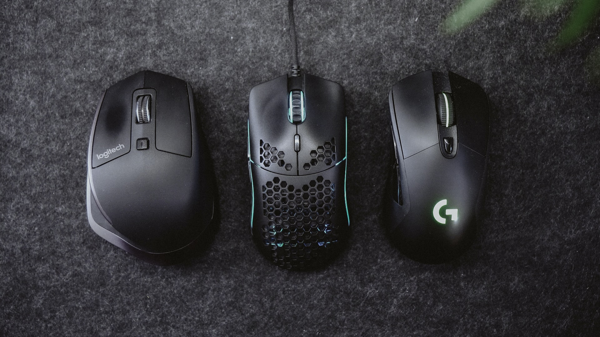 three computer mice in a row