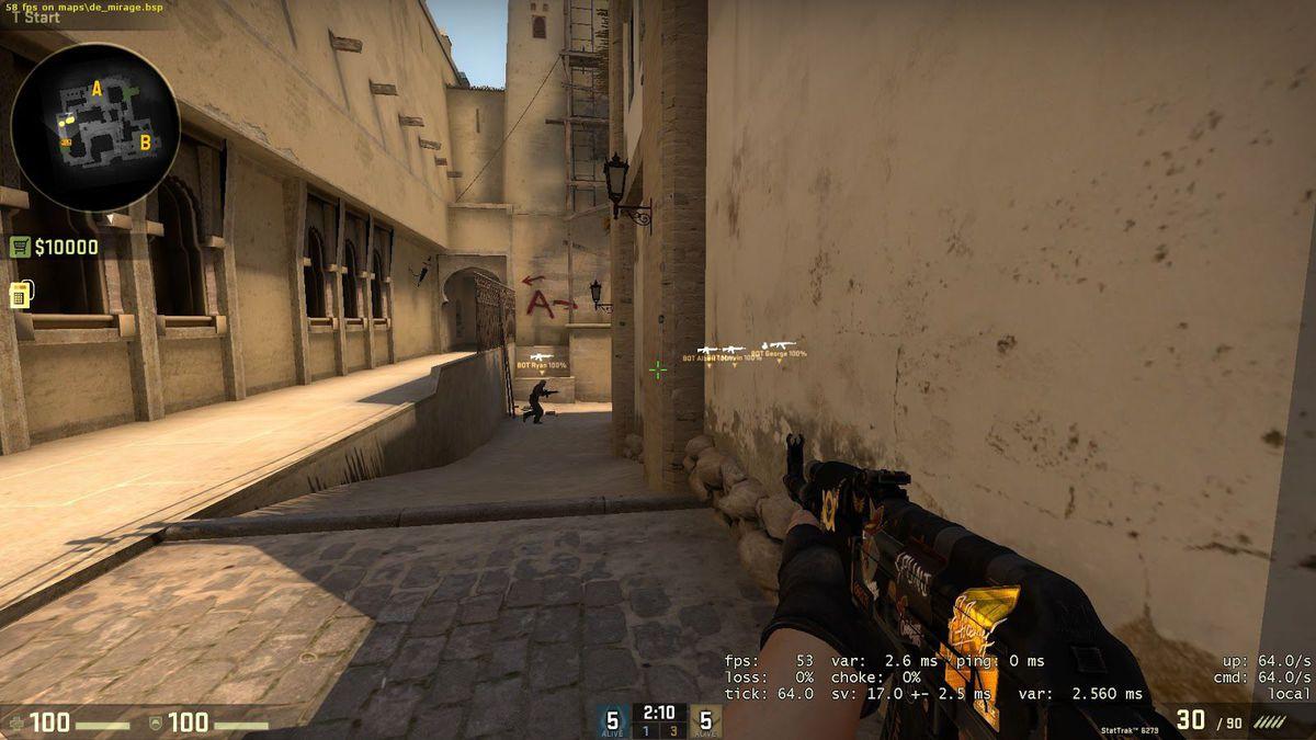 Tela mostrando equipamentos de aliados no CS:GO