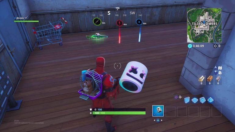 Captura de tela que mostra os três tipos de marcação dentro do jogo Fortnite